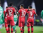 Jubel 1:4: Kerem Demirbay (Leverkusen)/m jubelt mit Edmond Tapsoba (Leverkusen)/l. und Leon Bailey (Leverkusen)/r.<br /><br />Sport: Fussball: 1. Bundesliga: Saison 19/20: 26. Spieltag: SV Werder Bremen - Bayer 04 Leverkusen, 18.05.2020<br /><br />Foto: Marvin Ibo GŸngšr/GES /Pool / via gumzmedia / nordphoto