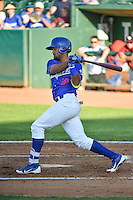 Yensys Capellan (10) of the Ogden Raptors at bat against the Idaho Falls Chukars in Pioneer League action at Lindquist Field on June 22, 2015 in Ogden, Utah. The Chukars defeated the Raptors 4-3 in 11 innings. (Stephen Smith/Four Seam Images)