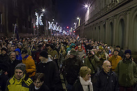 Protest against government corruption in Budapest, Hungary on December 16, 2014. ATTILA VOLGYI