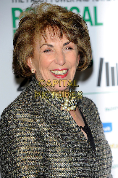 Edwina Currie.The Paddy Power & Total Politics Political Book Awards 2013, BFI Imax,  London, England..February 6th, 2013.headshot portrait silver grey gray pearl necklace gold.CAP/CJ.©Chris Joseph/Capital Pictures.