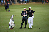 Shane Lowry (IRL) and caddie Dermot prepare to play to the last during the Final Round of the British Masters 2015 supported by SkySports played on the Marquess Course at Woburn Golf Club, Little Brickhill, Milton Keynes, England.  11/10/2015. Picture: Golffile | David Lloyd<br /> <br /> All photos usage must carry mandatory copyright credit (© Golffile | David Lloyd)