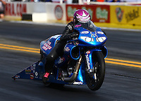 Nov 7, 2013; Pomona, CA, USA; NHRA pro stock motorcycle rider Angie Smith during qualifying for the Auto Club Finals at Auto Club Raceway at Pomona. Mandatory Credit: Mark J. Rebilas-