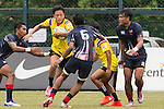 Keeta Punyawut (2nd from l) of Thailand battles for the ball during the match between Malaysia and Thailand of the Asia Rugby U20 Sevens Series 2016 on 12 August 2016 at the King's Park, in Hong Kong, China. Photo by Marcio Machado / Power Sport Images