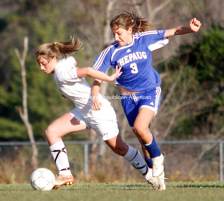 LITCHFIELD,  CT.- 12 NOVEMBER 2011-111211JW08-  Litchfield #8 Emily Andrulis and Shepaug #3 Jennifer Isaac fight for control during Litchfields win over Shepaug Saturday afternoon during CIAC Class S Second Round action.<br /> Jonathan Wilcox Republican American