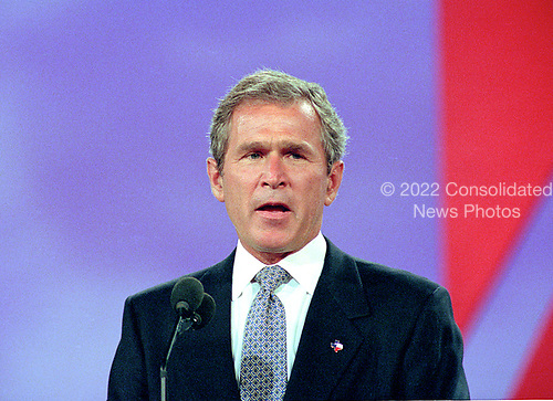 Governor George W. Bush (Republican of Texas) speaks at the 1996 Republican National Convention at the San Diego Convention Center in San Diego, California on August 12, 1996.  <br /> Credit: Ron Sachs / CNP