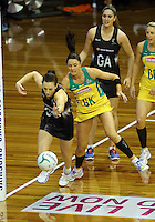 12.10.2016 Silver Ferns Bailey Mes and Australia's Sharni Layton in action during the Silver Ferns v Australia netball test match played at the Silver Dome in Launceston in Australia.. Mandatory Photo Credit ©Michael Bradley.