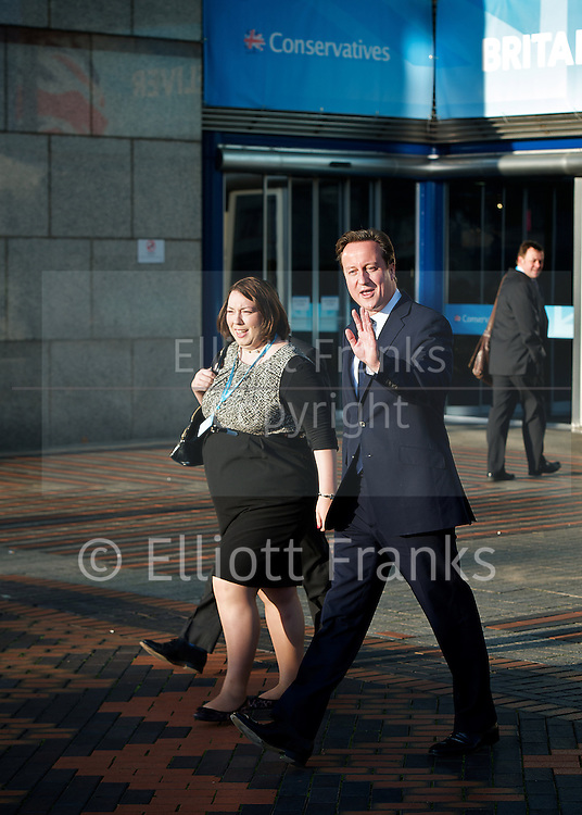 Conservative Party Conference, ICC, Birmingham, Great Britain <br /> Day 4<br /> 9th October 2012 <br /> <br /> Rt Hon David Cameron MP<br /> Prime Minister <br /> outside conference centre<br /> <br /> <br /> <br /> Photograph by Elliott Franks<br /> <br /> United Kingdom<br /> Tel 07802 537 220 <br /> elliott@elliottfranks.com<br /> <br /> &copy;2012 Elliott Franks<br /> Agency space rates apply