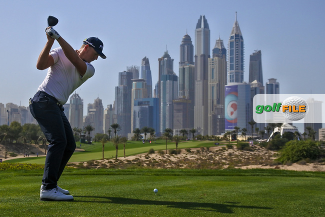 Matt Wallace (ENG) on the 8th tee during Round 3 of the Omega Dubai Desert Classic, Emirates Golf Club, Dubai,  United Arab Emirates. 26/01/2019<br /> Picture: Golffile | Thos Caffrey<br /> <br /> <br /> All photo usage must carry mandatory copyright credit (© Golffile | Thos Caffrey)