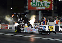 Oct. 26, 2012; Las Vegas, NV, USA: NHRA top fuel dragster driver Chris Karamesines during qualifying for the Big O Tires Nationals at The Strip in Las Vegas. Mandatory Credit: Mark J. Rebilas-