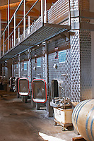 Stainless steel fermentation vats.  Domaine Yves Cuilleron, Chavanay, Ampuis, Rhone, France, Europe