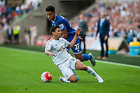Jefferson Montero of Swansea  in brought to the floor during the Barclays Premier League match between Swansea City and Everton played at the Liberty Stadium, Swansea  on September 19th 2015