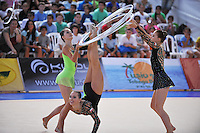Rhythmic group from Poland performs with 5-hoops during All Around at 2010 Holon Grand Prix at Holon, Israel on September 3, 2010.  (Photo by Tom Theobald).