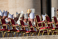Vatican City, October 13, 2019. Prelates attend a canonization Mass in St. Peter's Square at the Vatican. Pope Francis on Sunday canonized Cardinal John Henry Newman, the 19th-century Anglican convert who became an immensely influential, unifying figure in both the Anglican and Catholic churches. Francis presided over Mass on Sunday in a packed St. Peter's Square to declare Newman and four women saints. (Antonello Nusca/BuenavistaPhoto)