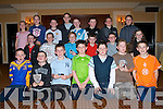 The Ballymac U12's having fun at their awards presentation at the Ballygarry Hotel and Spa on Sunday front l-r: Cian Lonergan, Christopher Leen, Eric Mason, Gary Sheehy, Stephen Birmingham, Pa?draig O'Connor and Niall O'Sullivan. Seated l-r: Vincent Horan, Cillain Brosnan, Owen Lyons, Christopher Rodgers, Timmy O'Sullivan and Emer Lynch.  Back l-r: Fiona McKeown, Sinea?d Brosnan, Sea?n Doyle, Gerard Browne, Sea?n Savage, Jack O'Shea, Aaron Dunne and Jonathan Brick..   Copyright Kerry's Eye 2008