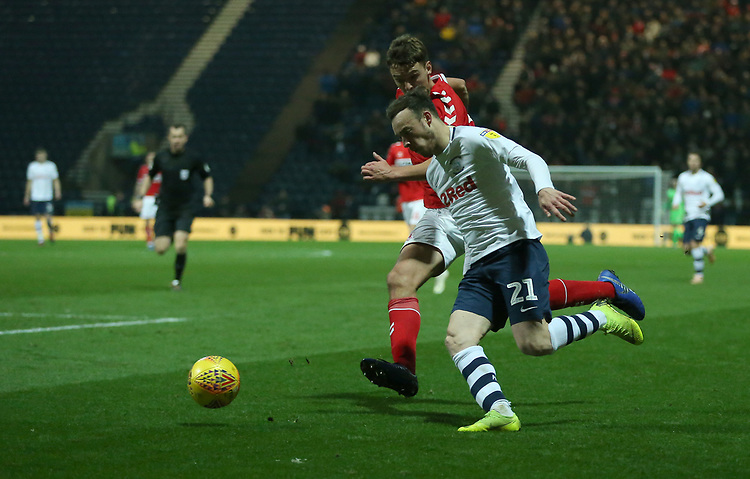 Preston North End's Brandon Barker battles with Middlesbrough's Dael Fry as he attempts to cross the ball<br /> <br /> Photographer Stephen White/CameraSport<br /> <br /> The EFL Sky Bet Championship - Preston North End v Middlesbrough - Tuesday 27th November 2018 - Deepdale Stadium - Preston<br /> <br /> World Copyright © 2018 CameraSport. All rights reserved. 43 Linden Ave. Countesthorpe. Leicester. England. LE8 5PG - Tel: +44 (0) 116 277 4147 - admin@camerasport.com - www.camerasport.com