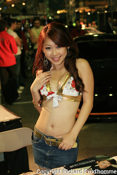 attractive young model at the SCP8 auto show in Montreal