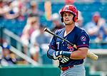 22 July 2018: Louisville Bats infielder Brian O'Grady singles in the 8th inning against the Syracuse SkyChiefs at NBT Bank Stadium in Syracuse, NY. The Bats defeated the Chiefs 3-1 in AAA International League play. Mandatory Credit: Ed Wolfstein Photo *** RAW (NEF) Image File Available ***