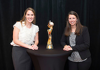 San Diego, CA - January 21, 2015: Girls Fantasy Camp Participants pose with the Women's World Cup trophy.