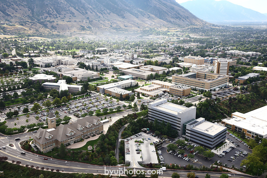 1309-22 1666<br /> <br /> 1309-22 BYU Campus Aerials<br /> <br /> Brigham Young University Campus, Provo, Sunrise, Tanner Building TNRB, Hinckley Alumni and Visitors Center HC<br /> <br /> September 6, 2013<br /> <br /> Photo by Jaren Wilkey/BYU<br /> <br /> &copy; BYU PHOTO 2013<br /> All Rights Reserved<br /> photo@byu.edu  (801)422-7322
