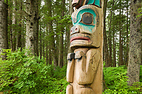 Totem poles in the Sitka National Historic Park. The park preserves and interprets the site of a Tlingit Indian Fort and the battle fought between the Russians and the Tlingits in 1804.