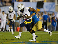Anthony Miller of California runs the ball after caught a pass from Maynard during the game against UCLA at Rose Bowl in Pasadena, California on October 29th, 2011.  UCLA defeated California, 31-14.