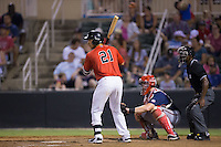 Seby Zavala (21) of the Kannapolis Intimidators at bat against the Hagerstown Suns at Kannapolis Intimidators Stadium on July 4, 2016 in Kannapolis, North Carolina.  The Intimidators defeated the Suns 8-2.  (Brian Westerholt/Four Seam Images)