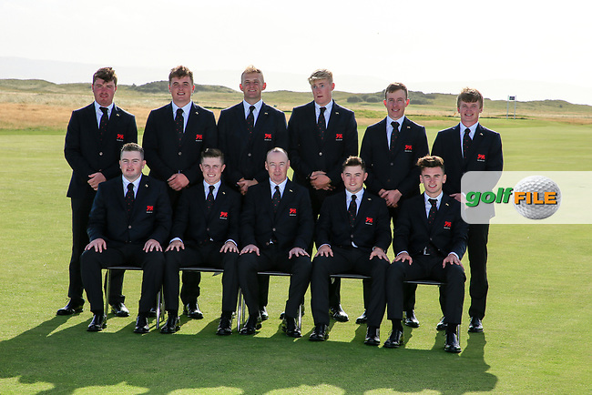 The GB&I team front Left to Right Caolan Rafferty, Conor Purcell, Craig Watson Captain, Alex Fitzpatrick, Conor Gough Back Left to Right Thomas Sloman, James Sugrue, Thomas Plumb, Harry Hall, Ewan Walker and Sandy Scott during the opening ceremony at the Walker Cup, Royal Liverpool Golf CLub, Hoylake, Cheshire, England. 06/09/2019.<br /> Picture Fran Caffrey / Golffile.ie<br /> <br /> All photo usage must carry mandatory copyright credit (© Golffile   Fran Caffrey)