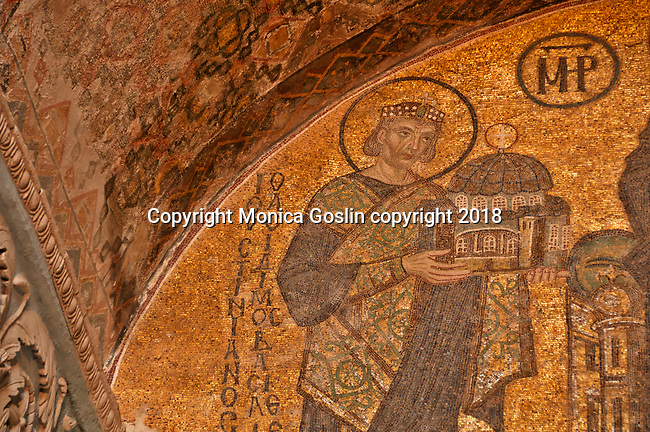 South Western entrance mosaic dating back to the 11th century, with a detail of emperor emperor Justinian I, offering a model of the Hagia Sophia