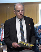 "United States Senator Chuck Grassley (Republican of Iowa) arrives for the start of the US Senate Committee on Finance ""Hearing to Consider the Graham-Cassidy-Heller-Johnson Proposal"" on the repeal and replace of the Affordable Care Act (ACA) also known as ""ObamaCare"" in Washington, DC on Monday, September 25, 2017.<br /> Credit: Ron Sachs / CNP"