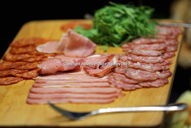 Ham and bacon in one of the hospitality suites during the Premier League match between Swansea City and Chelsea at The Liberty Stadium on September 11, 2016 in Swansea, Wales.