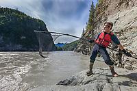 Dipnetting for sockeye salmon in the Copper river, southcentral, Alaska.