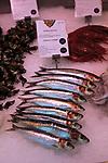 Sardines displayed on ice Mercado San Miguel market, Madrid city centre, Spain