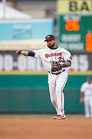 Rochester Red Wings second baseman Jordany Valdespin (23) throws to first base during an International League game against the Buffalo Bisons on May 31, 2019 at Frontier Field in Rochester, New York.  Rochester defeated Buffalo 5-4 in ten innings.  (Mike Janes/Four Seam Images)