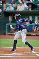 Ernesto Martinez (46) of the Rocky Mountain Vibes at bat against the Ogden Raptors at Lindquist Field on July 4, 2019 in Ogden, Utah. The Raptors defeated the Vibes 4-2. (Stephen Smith/Four Seam Images)