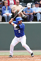 Oscar Sanay #2 of the Cal. St. Bakersfield Roadrunners bats against the UCLA Bruins at Jackie Robinson Stadium in Los Angeles,California on May 14, 2011. Photo by Larry Goren/Four Seam Images