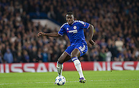 Kurt Zouma of Chelsea plays a pass during the UEFA Champions League Group G match between Chelsea and Dynamo Kyiv at Stamford Bridge, London, England on 4 November 2015. Photo by Andy Rowland.