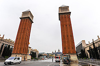 Spain, Barcelona. Plaça d'Espanya at the foot of Montjuïc. The Venetian towers.