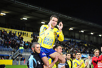 VOETBAL: LEEUWARDEN: Cambuur Stadion, 27-04-2012, SC Cambuur - Telstar, Jupiler League, Eindstand 3-1, na afloop van de wedstrijd afscheid Sandor van der Heide (#10 Cambuur), op de schouders bij Alim Öztürk (#16 Cambuur) en Robert van Boxel (#23 Cambuur), ©foto Martin de Jong