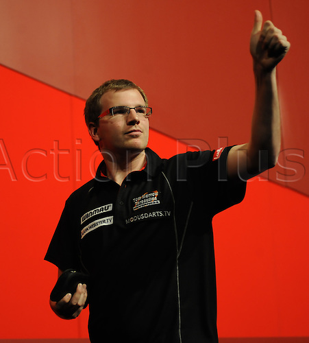 16.12.2010 Ladbrokes.Com World Darts Championships. Alexandra Palace London. Mark Webster celebrates his victory over Steve Maish