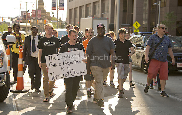 Protestors chanting &quot;black lives matter&quot; walk down Euclid Street, about a block away from the Quicken Loans Arena, the site of the 2016 Republican National Convention in Cleveland, Ohio on Friday, July 15, 2016.<br /> Credit: Ron Sachs / CNP/MediaPunch<br /> (RESTRICTION: NO New York or New Jersey Newspapers or newspapers within a 75 mile radius of New York City)