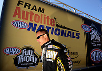 Jul. 18, 2010; Sonoma, CA, USA; NHRA top fuel dragster driver Tony Schumacher prior to the Fram Autolite Nationals at Infineon Raceway. Mandatory Credit: Mark J. Rebilas-