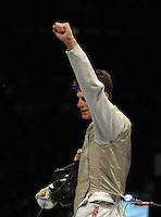 European Championships Fencing 2010 / Fecht Europameisterschaft 2010 in Leipzig - Competition Championat d'europe - im Bild: mens foil team - Florett Mannschaft Herren - Finale - Great Britian : Poland - the last fighter of the winning britisch team Richard Kruse shows the victory . Foto: Norman Rembarz..Norman Rembarz , Autorennummer 41043728 , Augustenstr. 2, 04317 Leipzig, Tel.: 01794887569, Hypovereinsbank: BLZ: 86020086, KN: 357889472, St.Nr.: 231/261/06432 - Jegliche kommerzielle Nutzung ist honorar- und mehrwertsteuerpflichtig! Persönlichkeitsrechte sind zu wahren. Es wird keine Haftung übernommen bei Verletzung von Rechten Dritter. Autoren-Nennung gem. §13 UrhGes. wird verlangt. Weitergabe an Dritte nur nach  vorheriger Absprache..