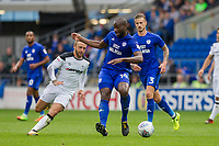 Sol Bamba of Cardiff City gets ahead of Johnny Russell of Derby County during the Sky Bet Championship match between Cardiff City and Derby County at Cardiff City Stadium, Cardiff, Wales on 30 September 2017. Photo by Mark  Hawkins / PRiME Media Images.
