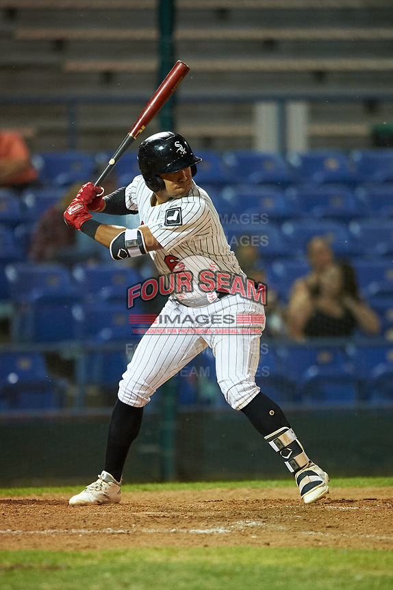 Great Falls Voyagers Luis Curbelo (6) at bat during a Pioneer League game against the Missoula Osprey at Centene Stadium at Legion Park on August 19, 2019 in Great Falls, Montana. Missoula defeated Great Falls 1-0 in the second game of a doubleheader. (Zachary Lucy/Four Seam Images)
