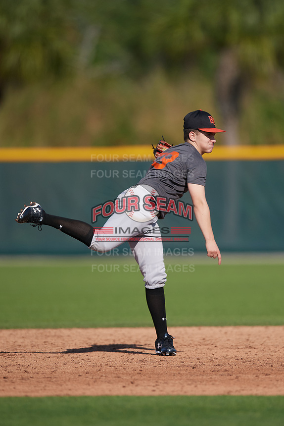 Jason Spezzaferra (59), from Maywood, New Jersey, while playing for the Giants during the Baseball Factory Pirate City Christmas Camp & Tournament on December 28, 2017 at Pirate City in Bradenton, Florida.  (Mike Janes/Four Seam Images)