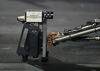 Sep 27, 2019; Madison, IL, USA; A motion scope camera is placed behind the wheelie bar of the dragster of NHRA top fuel driver Leah Pritchett during qualifying for the Midwest Nationals at World Wide Technology Raceway. Mandatory Credit: Mark J. Rebilas-USA TODAY Sports