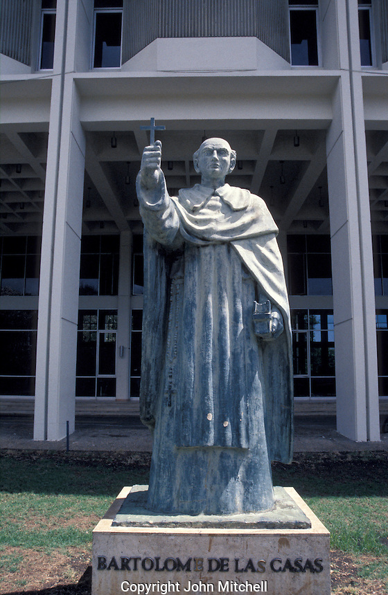 Statue of Fray Bartolome de Las Casas in front of the Museum of the Dominican Man or Museo del Hombre Dominicano in Santo Domingo, Dominican Republic