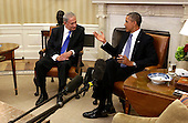 U.S. President Barack Obama(right) and Israeli Prime Minister Benjamin Netanyahu(left) photographed in the White House in Washington, DC after holding a bi-lateral meeting, Monday, September 30, 2013. <br /> Credit: Chris Kleponis / Pool via CNP