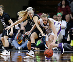 SIOUX FALLS, SD: MARCH 23:  Morgan Fleming #22 of Central Missouri battles with Laina Snyder #3 of Ashland during their game at the 2018 Division II Women's Basketball Championship at the Sanford Pentagon in Sioux Falls, S.D. (Photo by Dick Carlson/Inertia)