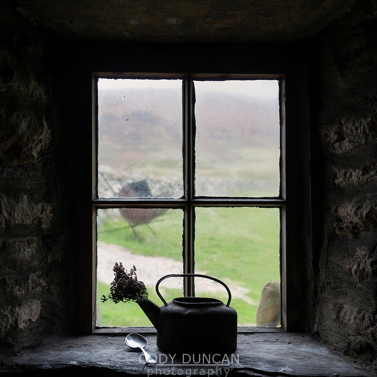 View out window of Burnmouth Bothy, Rackwick Bay, Hoy, Orkney, Scotland